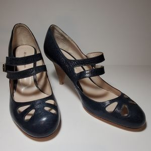 MS by MARTINE SITBON Navy Leather Heel NWOB 9